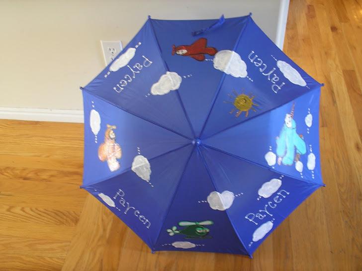 blue airplane umbrella