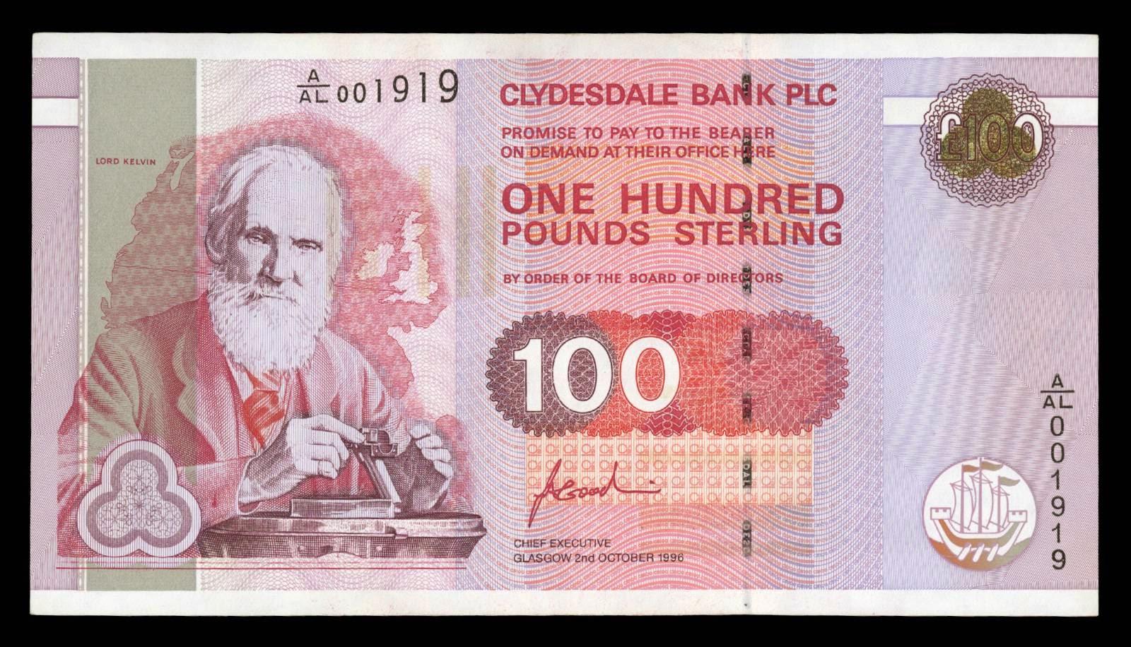 100 British Pound Note Images