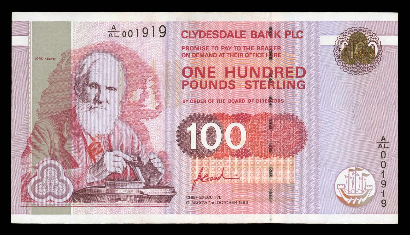 clydesdale bank 100 pound note 1996world banknotes