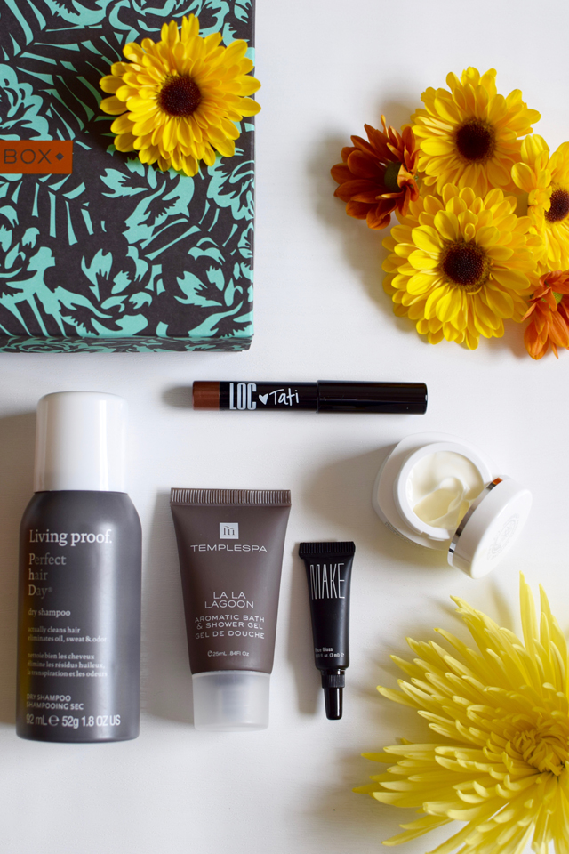 A Day In The Lalz; Fashion Blogger; Beauty Blog; Birchbox; November 2015 Birchbox; Subscription Box; Beauty Samples; Livingproof dry shampoo; Liz Earle moisturizer; LOC shadow stick; MAKE face gloss; Temple Spa Shower Gel
