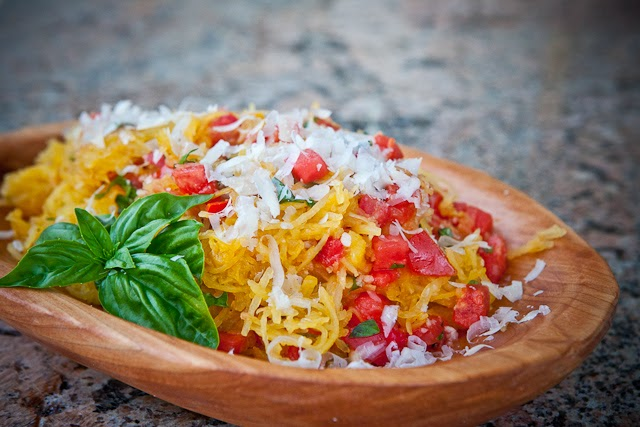 Microwave Spaghetti Squash w Tomato & Basil by Steamy Kitchen on Ducks 'n a Row #recipes #microwavecooking