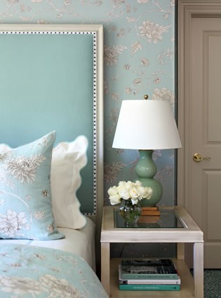 powder blue tufted tall head board blue floral wallpaper master bedroom