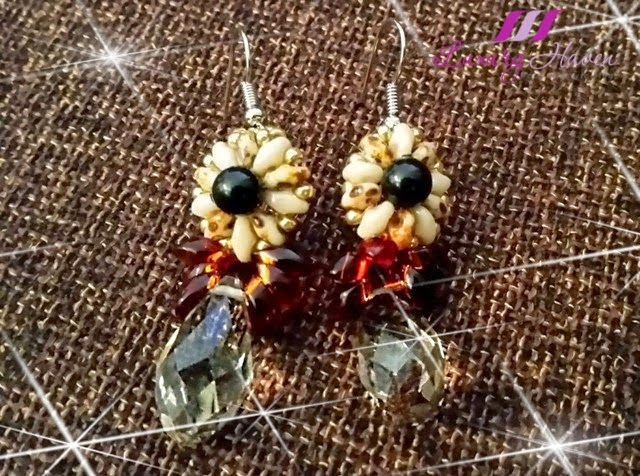 diy beaded crystal ear rings