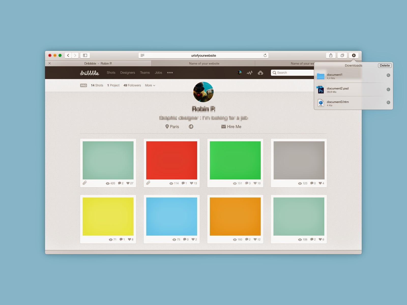 Free PSD Safari 8.0 Mockup