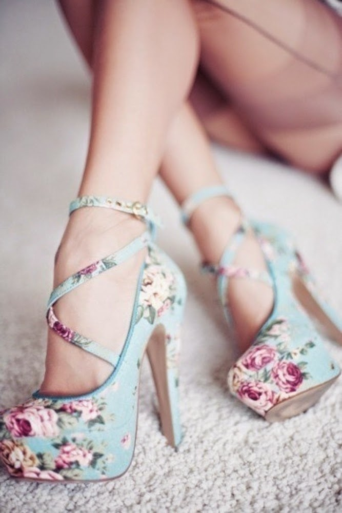 Floral High-heels Shoes With Tapes