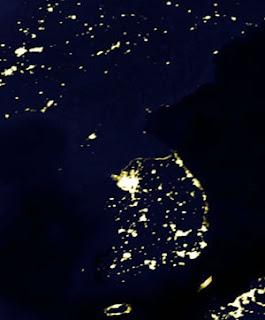 Coreia do Norte visão nocturna, Coreia do Norte vião satélite à noite.