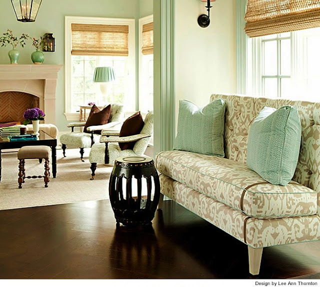 Mint green walls, casual living design, coastal decor