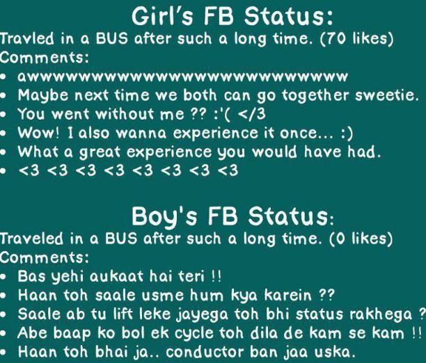 Girls status on Facebook fb