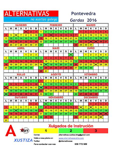 Pontevedra. Calendario gardas 2016