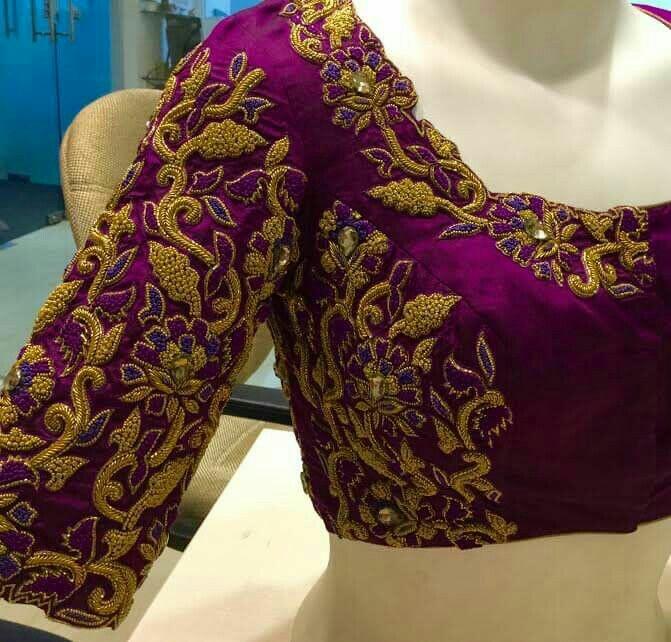 Zardosi Work Blouses With Floral Design Saree Blouse Patterns