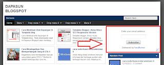 widget feedburner terpasang di blog