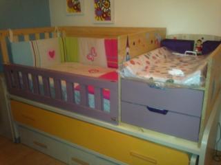 Eltallerdecarlos pisos reducidos mueble cama cuna con for Cuna con cambiador