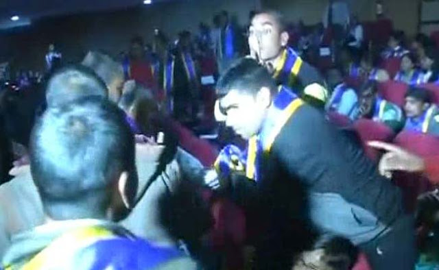 Prime Minister Narendra Modi's convocation address at Babasaheb Bhimrao Amebdakar University (BBAU) on Friday faced with a minor disturbance when two students shouted slogans at him.  As the Modi began to speak, Ram Karan and Amrendra Kumar got up and shouted – Narendra Modi  Murdabad, Modi Go Back and Inqualab Zindabad.