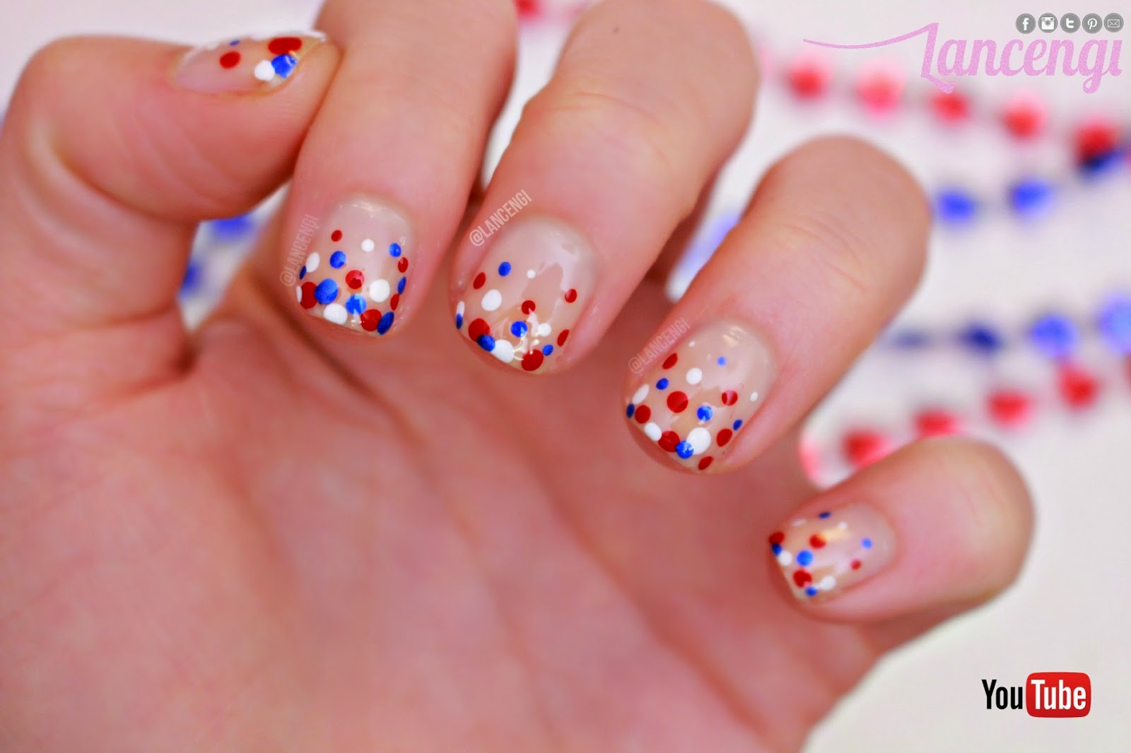 Lancengi Easy Bubble Memorial Day Nail Art Designs For Short Nails