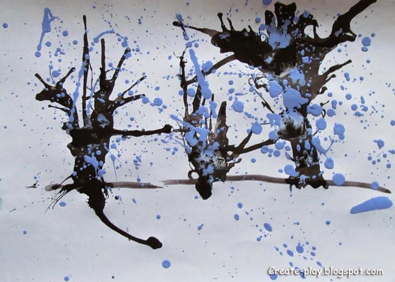 Зимние деревья кляксография