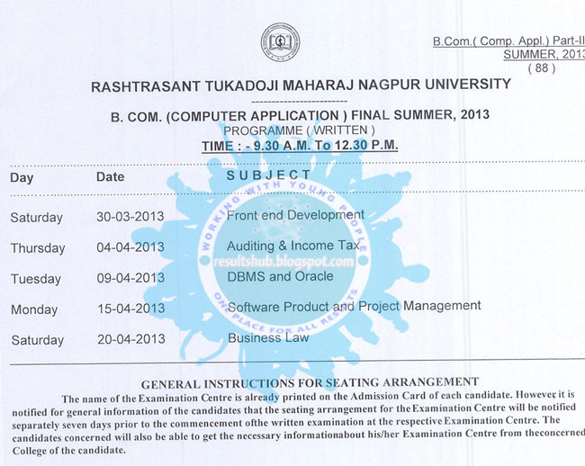 BCCA Final Year Summer 2013 Timetable Nagpur University