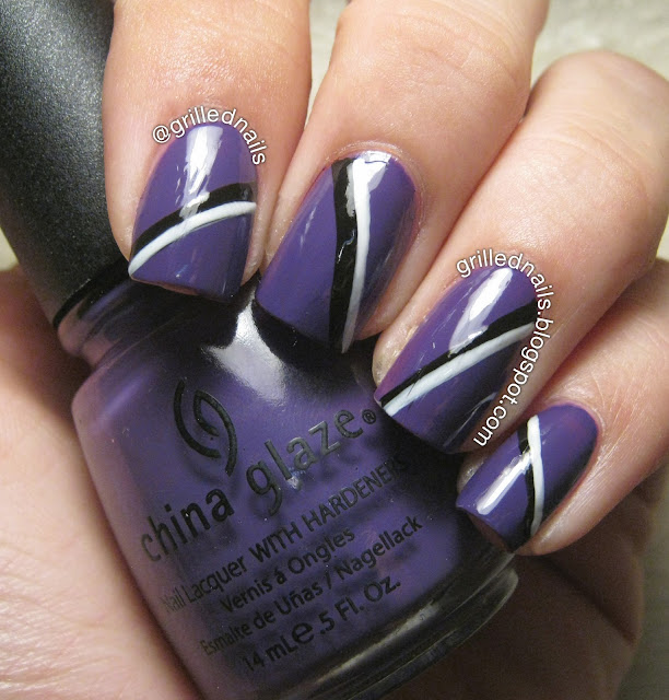 grillednails ootd nails grilled hector alfaro manicure purple black white striped nailartfeb californails instgram challenge 2013