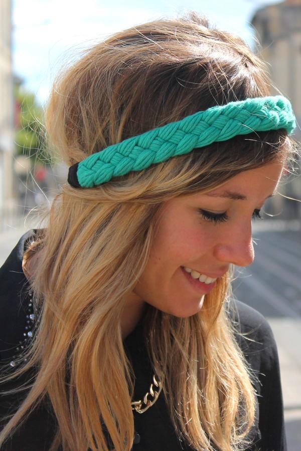 Headband Tressé vert menthe