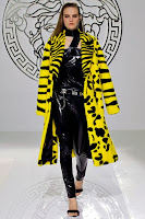 Кожено палто с косъм Versace 2014