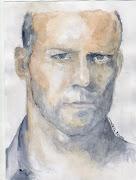 Retrato a acuarela de Jason Statham, mi primer retrato a acuarela
