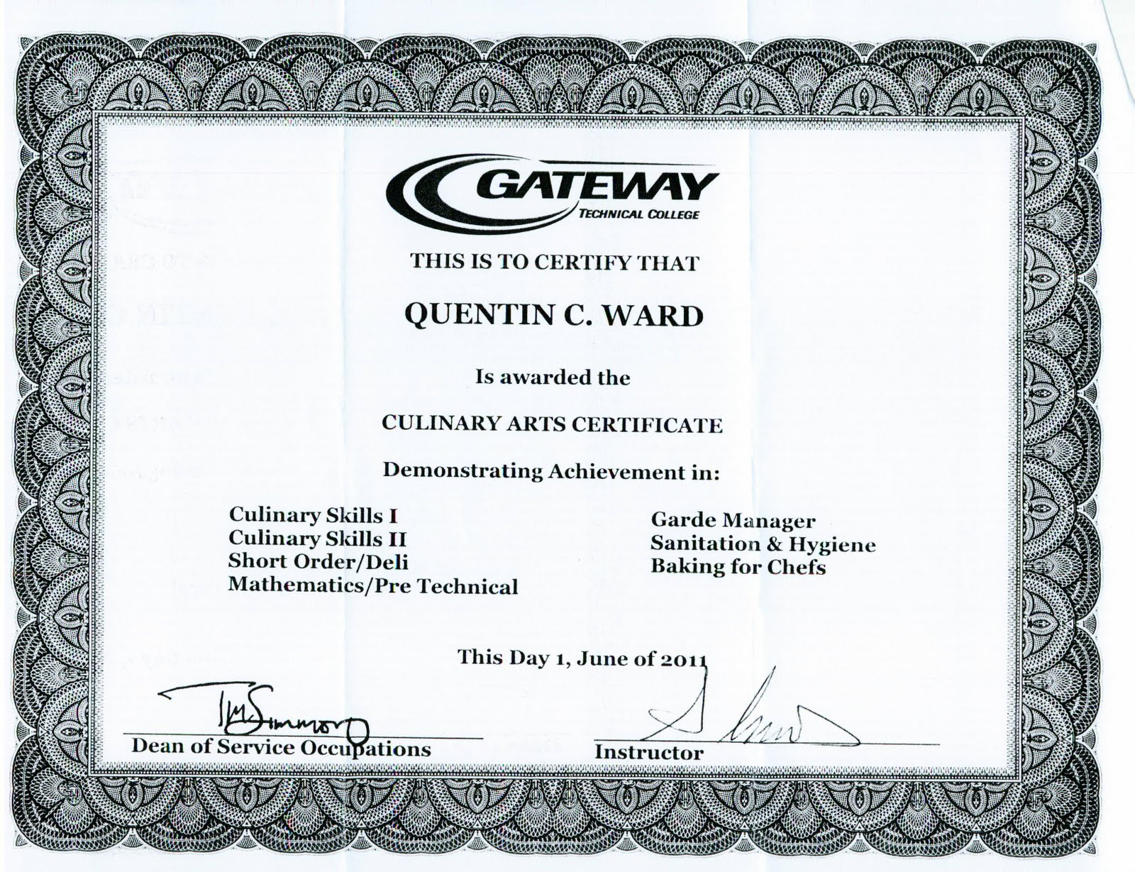 Juan Quentin Ward Classes And Diploma 2011