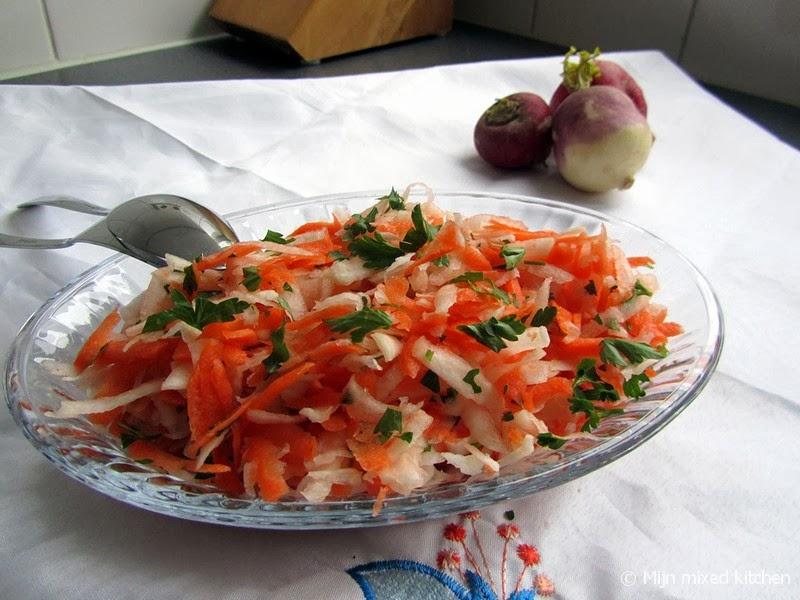 Mijn mixed kitchen havu lu turp salatas salade van for Ver mangeur de salade