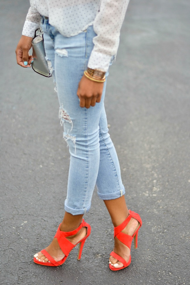 Distressed Denim & Bright Heels