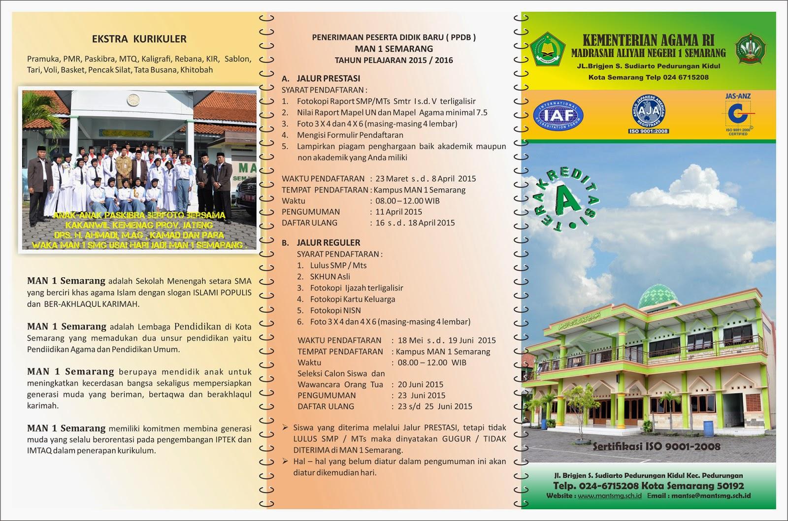 Brosur Pendaftaran MAN 1 Semarang 2015