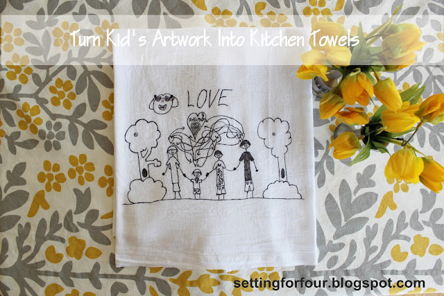 Mother's Day, Gift for Grandparents, Children's Art into Tea Towel www.settingforfour.com