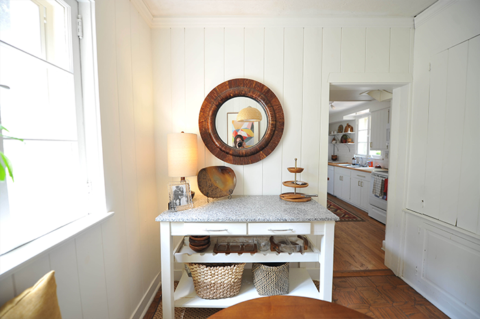 DIY Breakfast Nook with White Desert Modern Wood Paneling Rustic