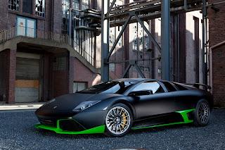 Lamborghini Murcielago Black Green Custom Paint Supercar HD Wallpaper