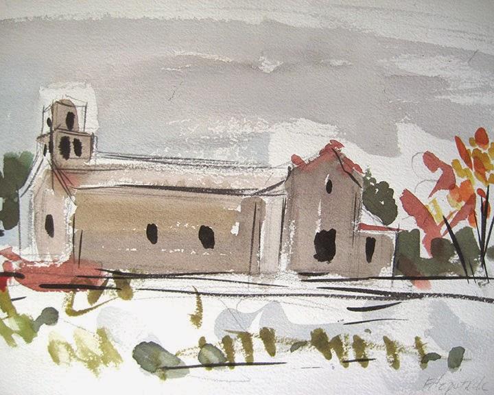 Santa Fe Church in Snow by Char Fitzpatrick