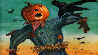 Funny Pumpkin Head Scare Crow Halloween Wallpaper