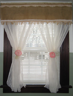 Burlap Lace Combination Handmade Window Curtain, Shabby Chic Country Style,