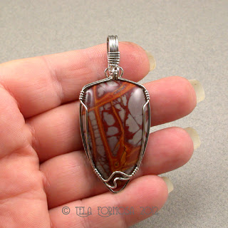 Noreena Jasper Orange Red Handmade Pendant Stainless Steel