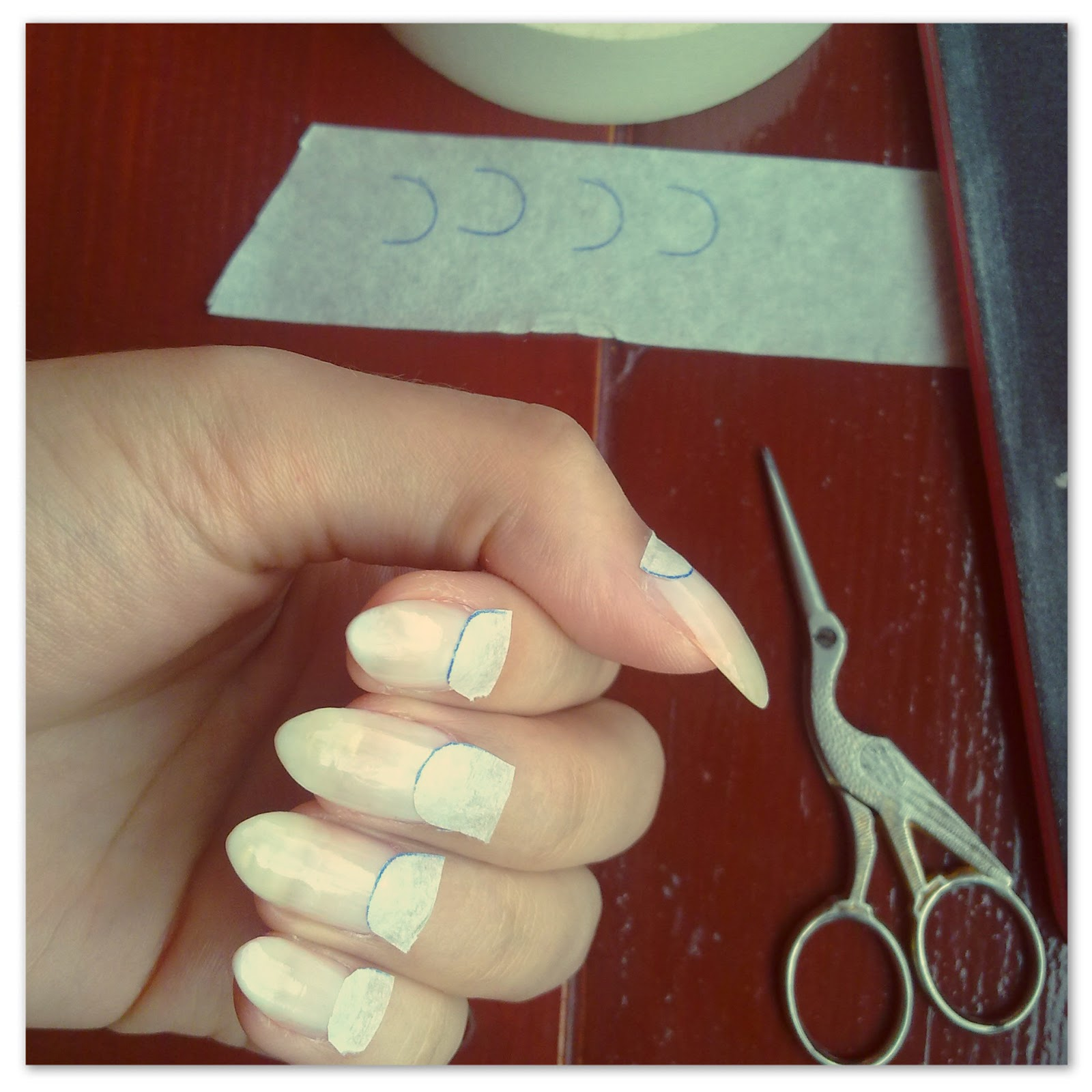 Idda van munster about my nails half moon step by step make sure they are straight and try to press down without ruining the base so there is no room for the other polish to seep through sciox Choice Image