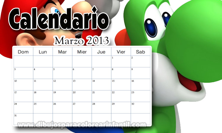Calendario Mes de Marzo 2013 de Mario Bross Colorear