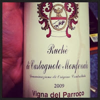 bottle of 2009 Ruché Di Castagnole Monferrato from the Piedmont region of Italy.