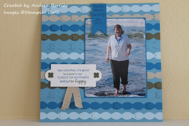 Scrapbook page of me in the Pacific Ocean. Scalloped trim background  made to look like waves.