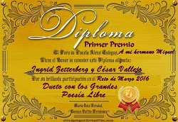 """Diploma Primer lugar, en Aires Galegos. Certamen """"Dueto con los grandes"""" Abril 2,016"""