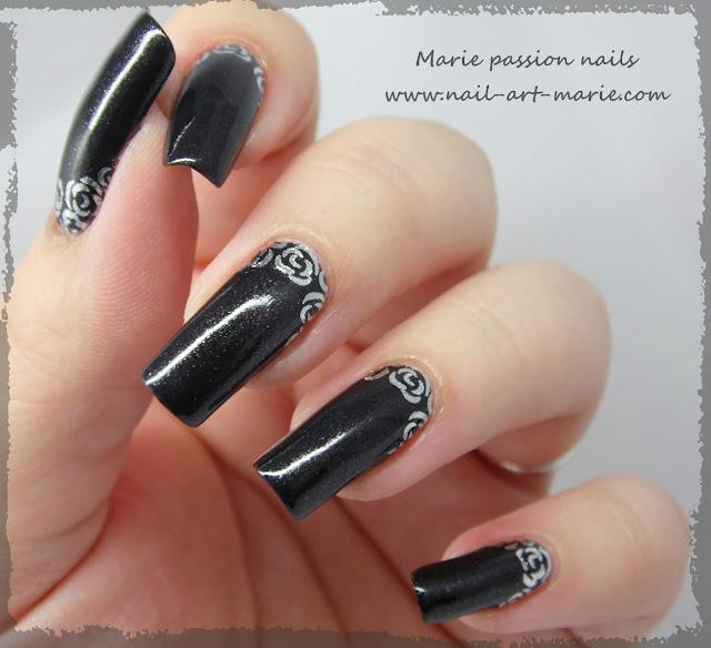 Nail art roses argentées3