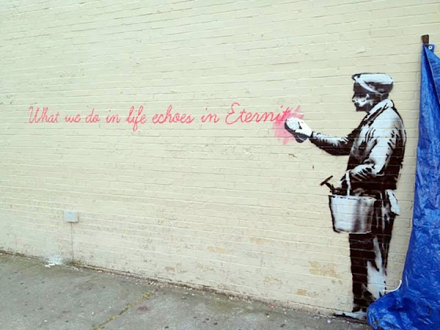 """Eternity"" Probably New Banksy Piece Uncovered Early For ""Better Out Than In"" In New York City. 1"
