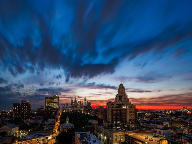 Photo of incredible sunset above Philadelphia as seen from the penthouse