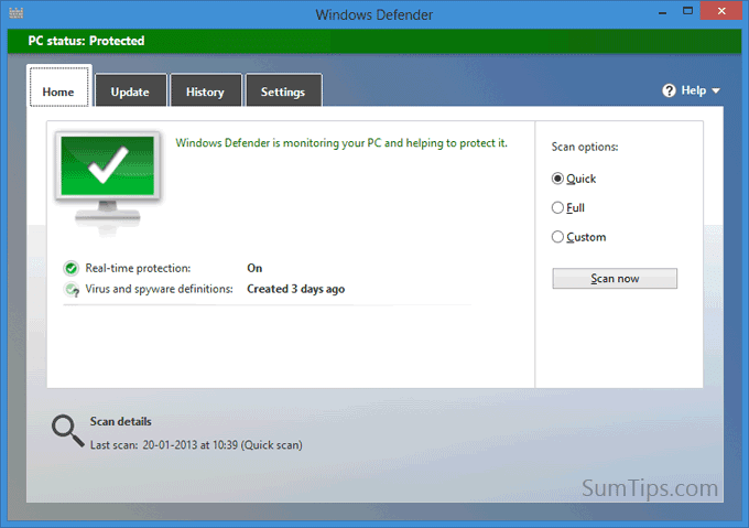 Windows 8: Auto Update Defender with Windows Update Disabled