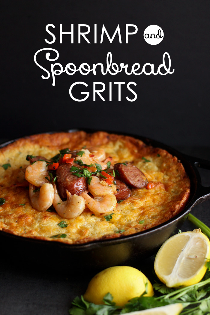Shrimp and Spoonbread Grits | Two southern classics in one tasty dish! via Club Narwhal