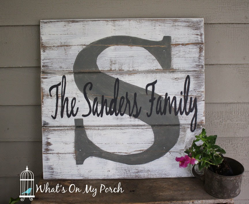 What 39 s on my porch monogram pallet family name sign for Monogram homes floor plans