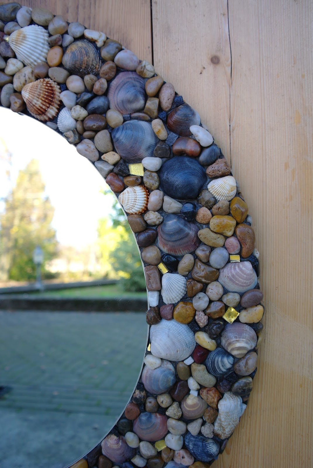 Mosaico di cristian specchio rotondo con cornice in tema mare - Specchio con conchiglie ...