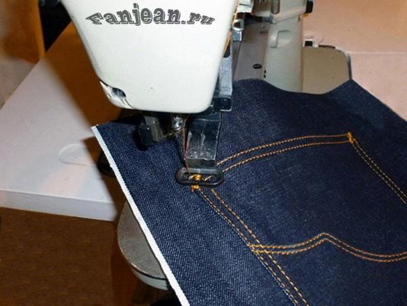 как сделать закрепки на карманах джинс