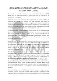 LOS FUNDADORES ABANDONAN MANÁ: NUEVOS TIEMPOS PARA LA ONG