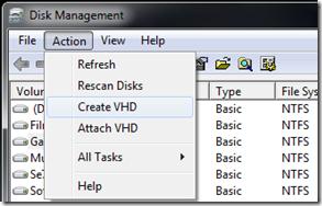 windows 7, criar, anexar, desanexar, VHD,  disco rígido virtual